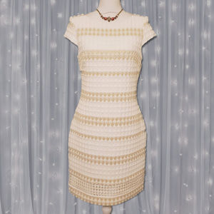 Vince Camuto White Gold Jacquard Eyelet Dress
